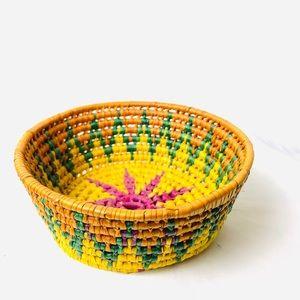 Vintage Colorful Boho 70s Raffia Small Basket